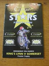 23/03/2004 Speedway Programme: Kings Lynn v Somerset. Item In very good conditio