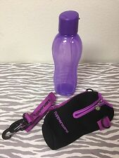 Tupperware Eco Twist Water Bottle Flip Top Seal w/ Carrying Pouch 25oz Purple