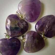 Aura Cleansing Purple Amethyst Crystal Healing Gemstone Heart Pendant polished
