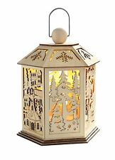 WeRChristmas 25 cm Pre-Lit Wooden Lantern Christmas Decoration with Warm LED