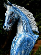 Great Quality Wooden Horse Head Bust 40 cm Home Decor Shabby Blue wash Colour