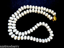 VTG WHITE MILK GLASS BEADED STRAND GOLD TONE CLASP NECKLACE 24""