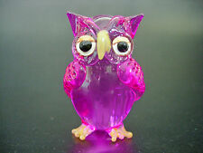 Glass OWL BIRD Hand Painted Tinted Pink Glass Ornament Blown Glass Animal Gift
