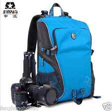 Pro Deluxe Blue Camera Backpack Waterproof Bag Case For Canon Nikon DSLR SLR *