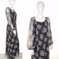 VINTAGE 70's Floral Black Purple Maxi Dress 12 14 Boho Hippie Sheer Sleeves