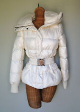 Sisley Italy Ivory Goose Down Puffer Belted Warm Jacket Coat Womens 44 M 8