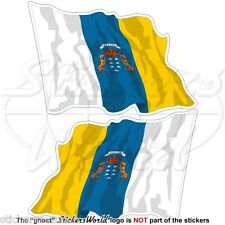 CANARY ISLANDS State Flying Flag Spain, Islas Canarias 75mm Stickers, Decals x2