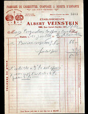 """PARIS (III°) USINE de CHAPEAUX , BERETS & CASQUETTES """"Albert VEINSTEIN"""" en 1930"""