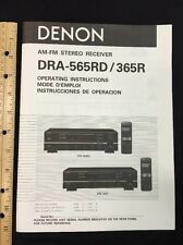 Denon DRA-565RD DRA-365R Stereo Receiver Original Owners Manual 15 English Pages
