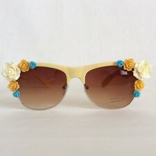Field of Dreams - PINKS & MINKS Embellished Sunglasses Cream Amber