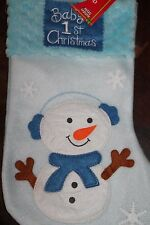 "Baby's First 1st Christmas Snowman Stocking Holiday 15"" NEW Fleece BOY BLUE"