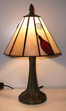 *SALE PRICE* Tiffany Stained Glass Table Lamp Small RED Leaf LEAF24