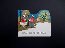 #K972- Vintage Art Deco Unused Xmas Greeting Card Victorian Carolers Singing