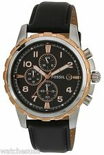 Fossil Men's Dean Chronograph Black Leather Watch FS4545