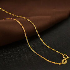 Authentic 18k Yellow Gold Necklace 1.1mm Singapore Link Chain 17.5 inch L