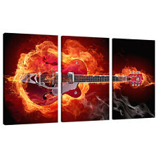 Three Picture Modern Red Canvas Art Wall Prints Boys Room Guitars 3065