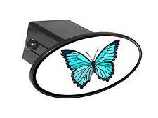 "Butterfly Teal Blue - 2"" Tow Trailer Hitch Cover Plug Insert"