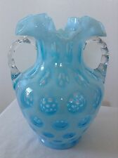 VINTAGE FENTON ART GLASS BLUE OPALESCENT COIN DOT VASE T12