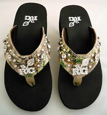 """NEW WOMENS """"REALTREE GIRL"""" MALLORY - 6-6.5  CAMO BLING FLIP-FLOPS SHOES SANDALS"""