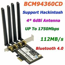 Broadcom BCM94360CD Dual-Band 1750Mbps 802.11AC PCi-E WiFi Adapter Bluetooth 4.0