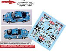 DÉCALS 1/24 réf 429 Alpine Renault A.110 Rallye Monte Carlo 1976 Ragnotti