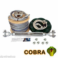 COBRA 60m GARDEN ZIP WIRE PACKAGE / ZIP LINE KIT 8mm WIRE ROPE + BUTTON SEAT