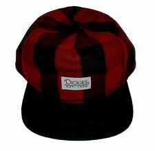 "New DICKIES Trucker Cap ""DICKIES EST 1922"" Red Plaid Snap Adjust"