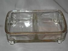 SUPERB GLASS DISH on FOUR FEET, Butterfly Relief Pattern & Gilded Edge