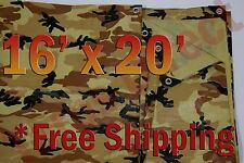 16' x 20' Camo Brown Beige Tarp Hunting Firewood Waterproof Camping Woodpile ATV