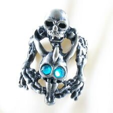 RING ghost SKULL monster pirate silver argent gray solid ONE SIZE LARGE blue