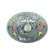 Unique Limited Edition USMC Military Belt Buckle Vintage Pewter U.S.Marine Corps