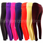 NEW GIRLS LADIES SHINY HIGH WAIST STRETCH DISCO LEGGINGS PANTS GYM RETRO SIZE