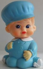 Vintage IWAI Industrial Co. Squeaker Blue Baby Boy Vinyl Toy Korea 1972 Doll