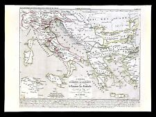 1849 Houze Map Ancient Greece Italy 533-774 AD Holy Roman Empire & Lombards