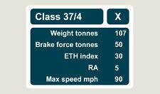 1x Class 37-4 Data Panel Train Depot Sticker/Decal 100 x 77mm