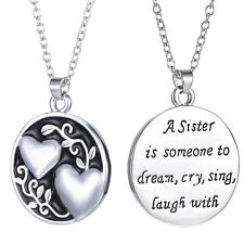 Sweet Love Quote Silver Plated Family Charms Love Heart Pendant Necklace Gifts