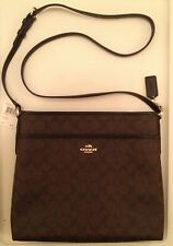 COACH F34938 Signature File Messenger Cross Body Bag Brown Black New with Tag