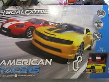 SCALEXTRIC AMERICAN RACERS SLOT CAR SET CAMARO VS CORVETTE