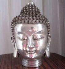 Colección Tibetano Buddhis shakyamuni bronce buda cabeza estatua 12.5cm