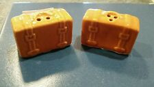 MINI SUITCASE LUGGAGE AMBER CERAMIC RECTANGLE SALT & PEPPER SHAKER SET