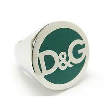 NEW DOLCE & GABBANA D&G DJ0061 SILVER/GREEN FASHION BRAND NAME RING SIZE 8.25 !!