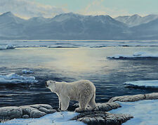 Original Lissa Calvert Polar Bear Arctic Landscape Painting Canadian Listed