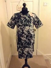 BNWT STUNNING NEON ROSE DIGITAL FLORAL DRESS (BLACK/GREY/PINK/BLUE) - UK 8