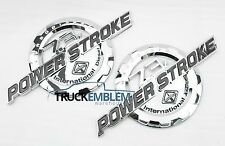2 NEW CHROME FORD CUSTOM 7.3 F250 F350 POWERSTROKE INTERNATIONAL BADGES EMBLEMS