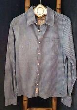 Abercrombie & Fitch Muscle Casual Blue Denim Men Striped Shirt 100% Cotton Sz L