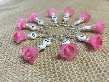 1-10 Row Counter Stitch Markers - Number Markers For Knitting - Pink Flowers