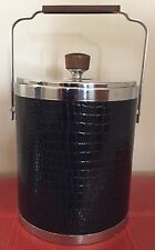 KROMEX Vintage Ice Bucket Black Leather Look, Chrome, & Wood Made in U.S.A. G1