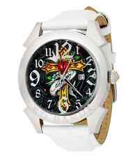 Men's Ed Hardy RE-CR Revolution Cross Watch White Leather Strap No Box