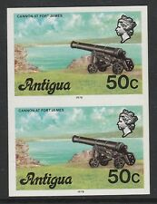Antigua (S68) 1976 definitive 50c Cannon IMPERFORATE PAIR unmounted mint