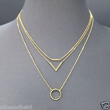 Gold Finish Simple Dainty Triple Layered Chain Circle Triangle Pendant Necklace